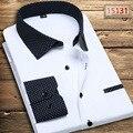 Envío gratis camisa masculina 11 colorea S-5XL 2015 moda delgado de manga larga camiseta de boda del novio más el tamaño del negocio del mens camisas