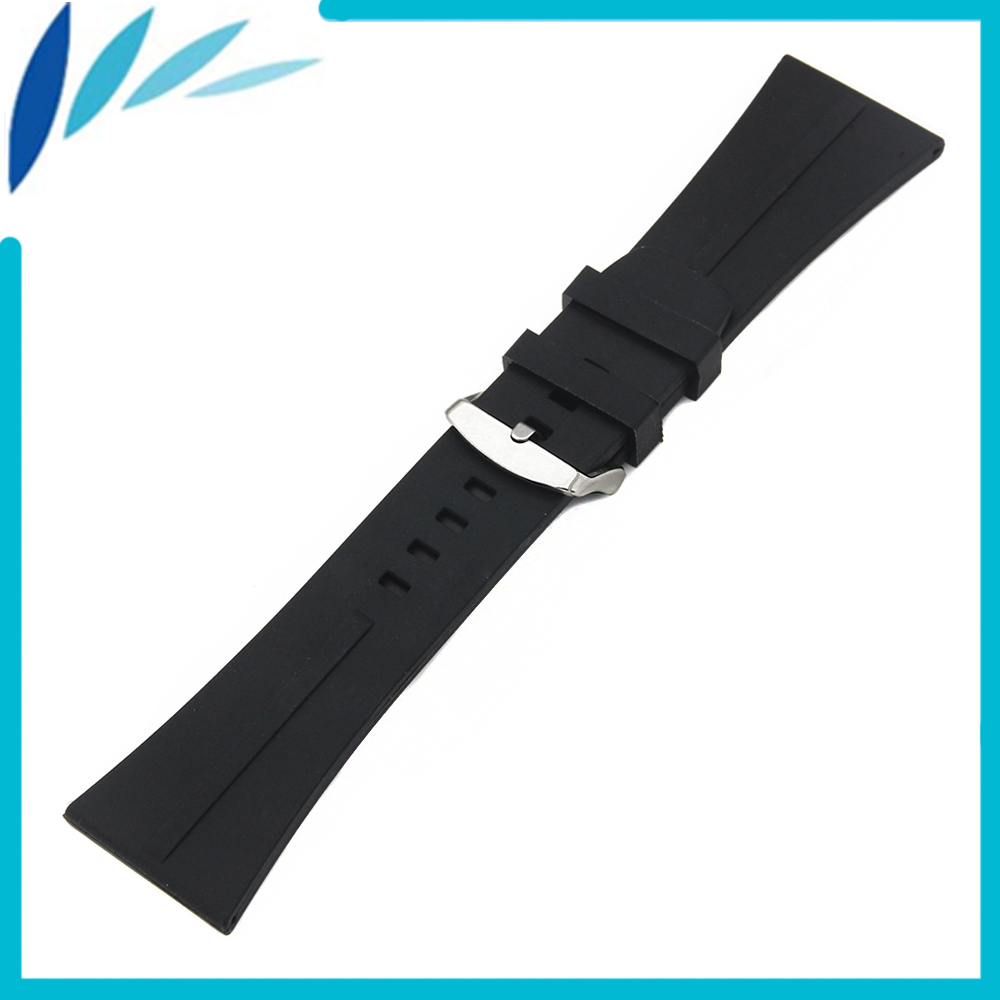 Silicone Rubber Watch Band 30mm Universal Watchband Stainless Steel Pin Clasp Strap Wrist Loop Belt Bracelet Black + Spring Bar купить дешево онлайн