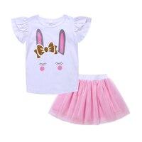 Bebek Kız Giyim Seti 2018 Yaz Çocuk Giyim Seti Unicorn Güzel Bunny T Gömlek Tutu Etek Moda Bebek Giysileri Kıyafetler