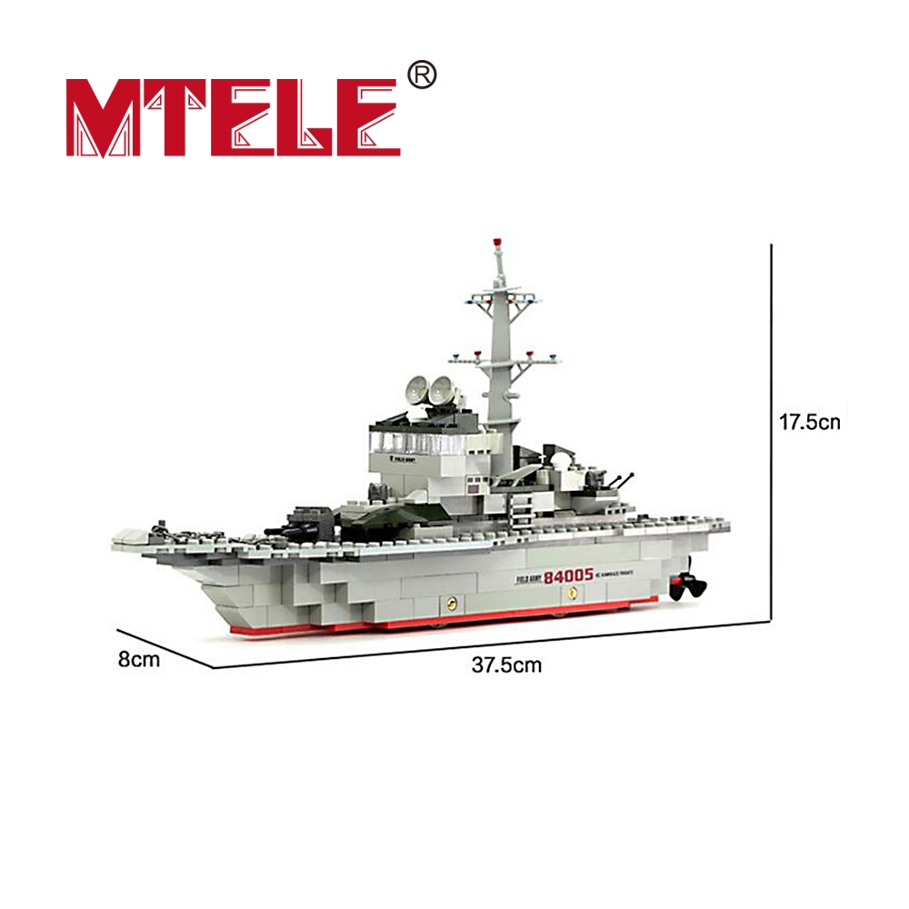 MTELE Military Ships Building Blocks Set Warships Model Technic Designer Gift Toys Compatible Lego City Education