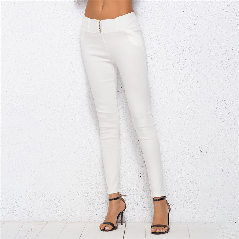 Solid Color White Autumn  New Arrival Women Pancil Pants Stretchable Casual Women Trousers 4XL Cotton Blends Pants