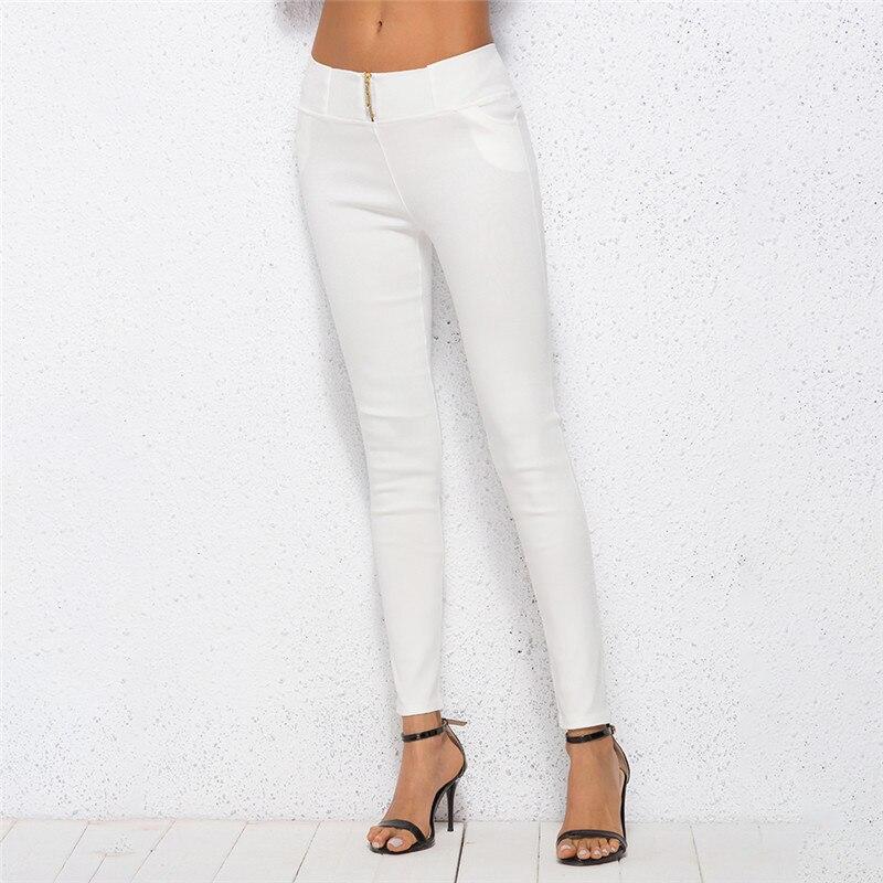 Solid Color White Autumn New Arrival Women Pancil Pants Stretchable Casual Women Trousers 4XL Cotton Blends Pants