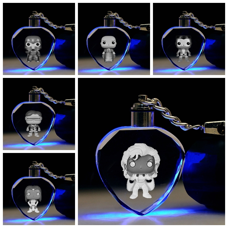 X-Hommes Tempête Cyclope Coeur Forme Anime LED Porte-clés LOGO modèle Porte-clés En Cristal Jouet Keychain Keyholder Lumière Cadeau amant