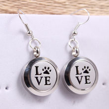 1pair Silver Love Dog Paw Print Perfume 20MM Aromatherapy Locket Earrings Pendant Essential Oil Diffuser Locket Drop Earring(China)