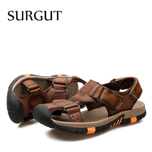 Image 5 - SURGUT Brand Men Breathable Casual Shoes Genuine Leather Sandals Male Rubber Beach Shoes Summer New Sandals Slippers Size 38 45