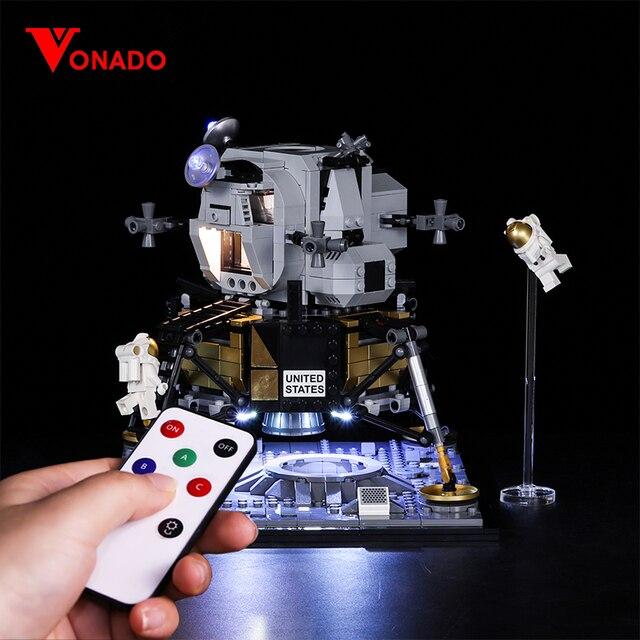 Светодиодный светильник Vonado серии «сделай сам», совместимый с Lego 10266 Apollo 11, лунное мусорное ведро, светодиодный светильник, рождественский подарок, игрушки для детей