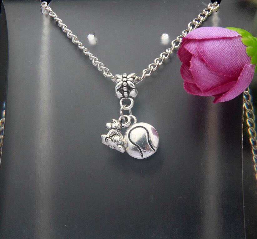 10PCS Fashion Vintage Silver Dog And Ball Charm Long Section Sweater Pendants For Necklace Jewelry Findings Gift Women E256