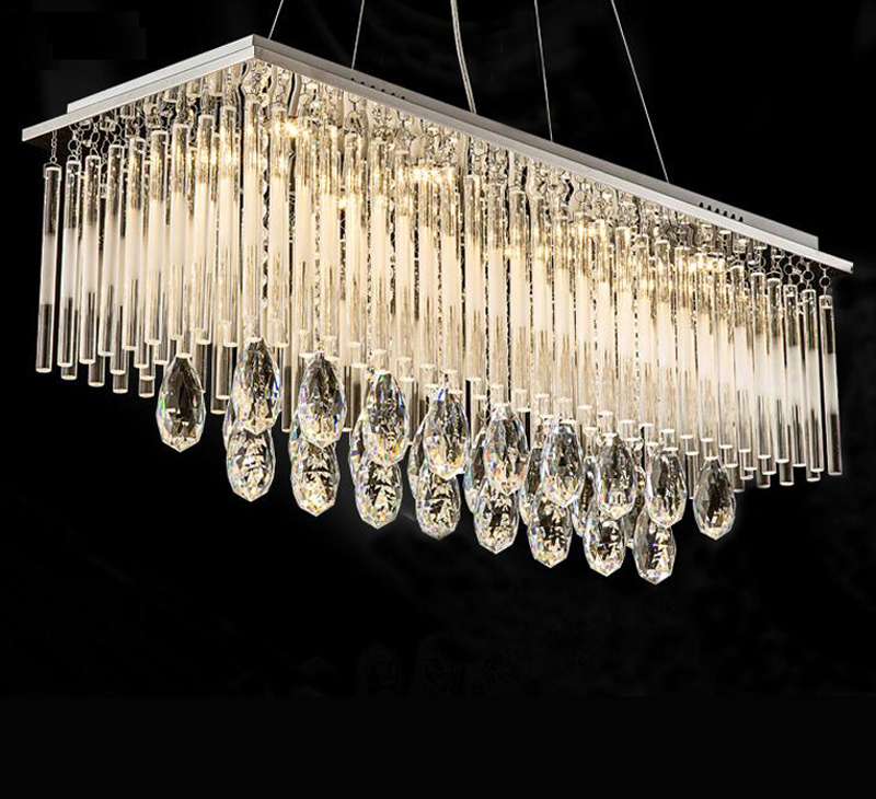 Modern Contemporary Rectangle Rain Drop Suspension Lamp Lighting Fixture Crystal Chandelier for Dining Room