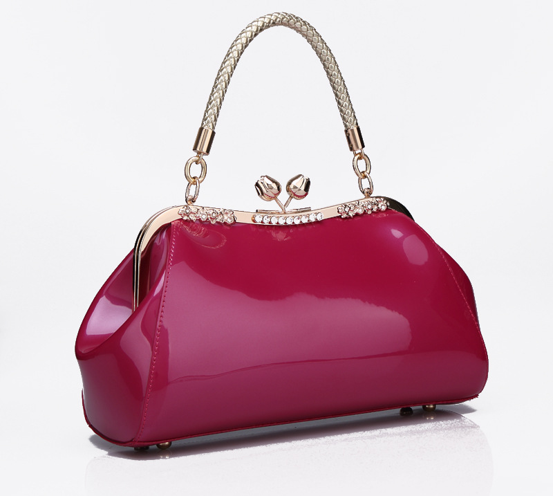 Bags fashion japanned leather shiny candy color one shoulder cross-body women's handbag 2014