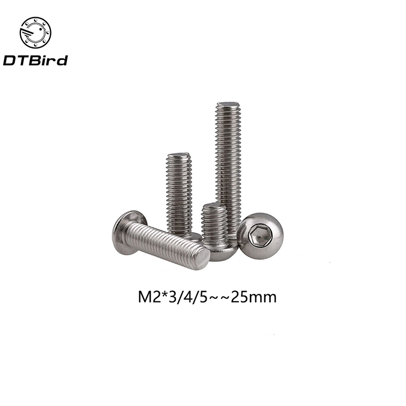 100pcs M2 Bolt A2-70 Button Head Socket Screw Bolt SUS304 Stainless Steel M3*(3/4/5/6/8/10/12/14/22/25) mm high quality 50pcs m3 stainless steel round pan head machine screw m3 3 4 5 6 8 10 12 14 16 18 20 25 30 40 50 60 70 mm din7985