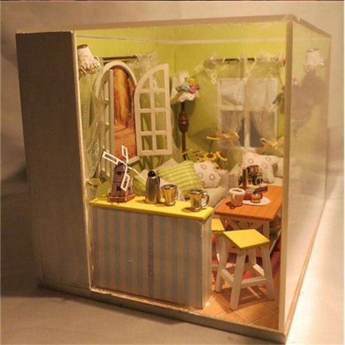 Fresh Green Handcraft Gift DIY Wooden Little House Furniture Dollhouse With  Light Kit Self