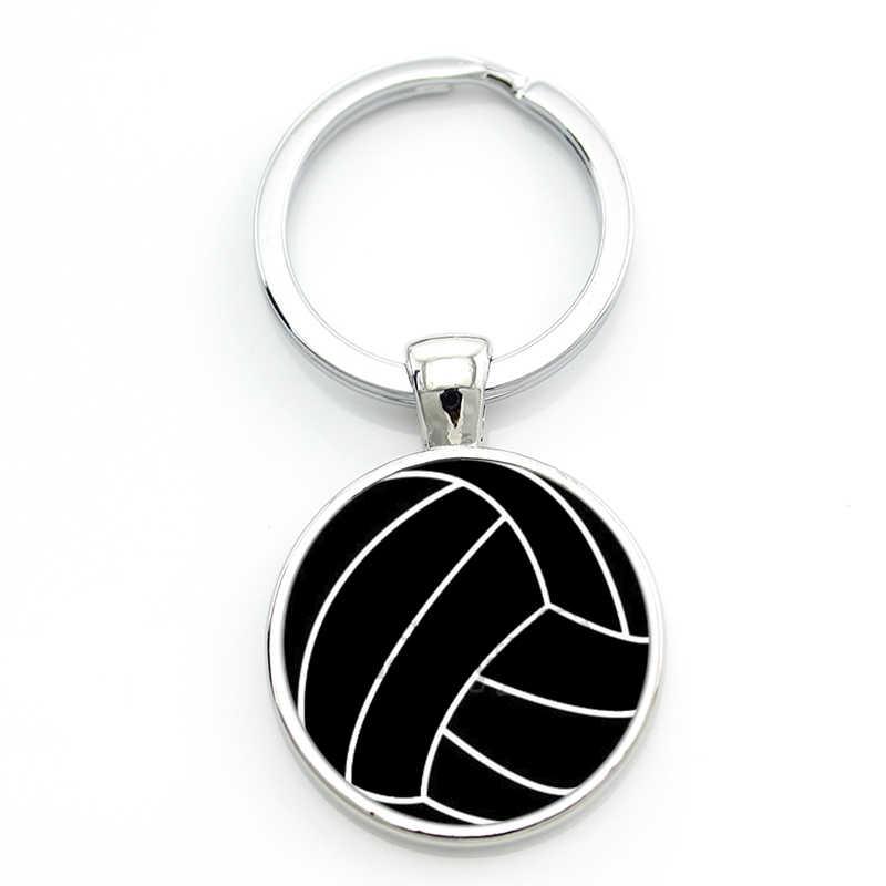 TAFREE verano encantos cabujón de cristal joyas anillo de la cadena dominante llavero mujeres de los hombres deportes de voleibol de playa mejores amigos regalos SP680