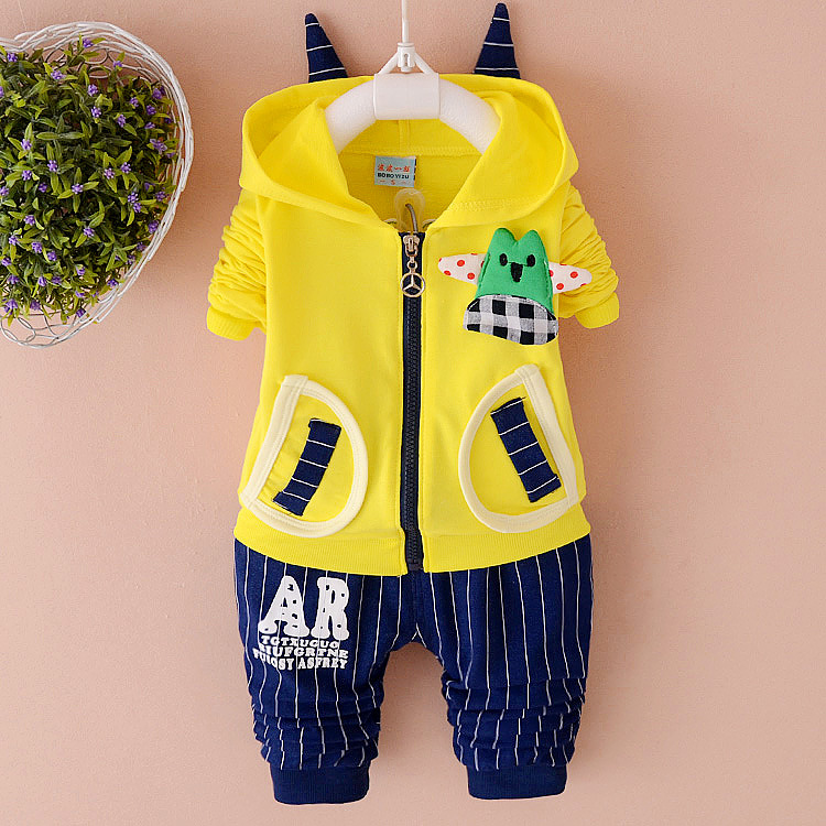 2017 Spring Autumn baby boy clothing sets newborn cartoon Monster cotton coat+stripe pants infant 2pcs for baby girls suit  new brand 2pcs ofcs baby boy sets cotton spring