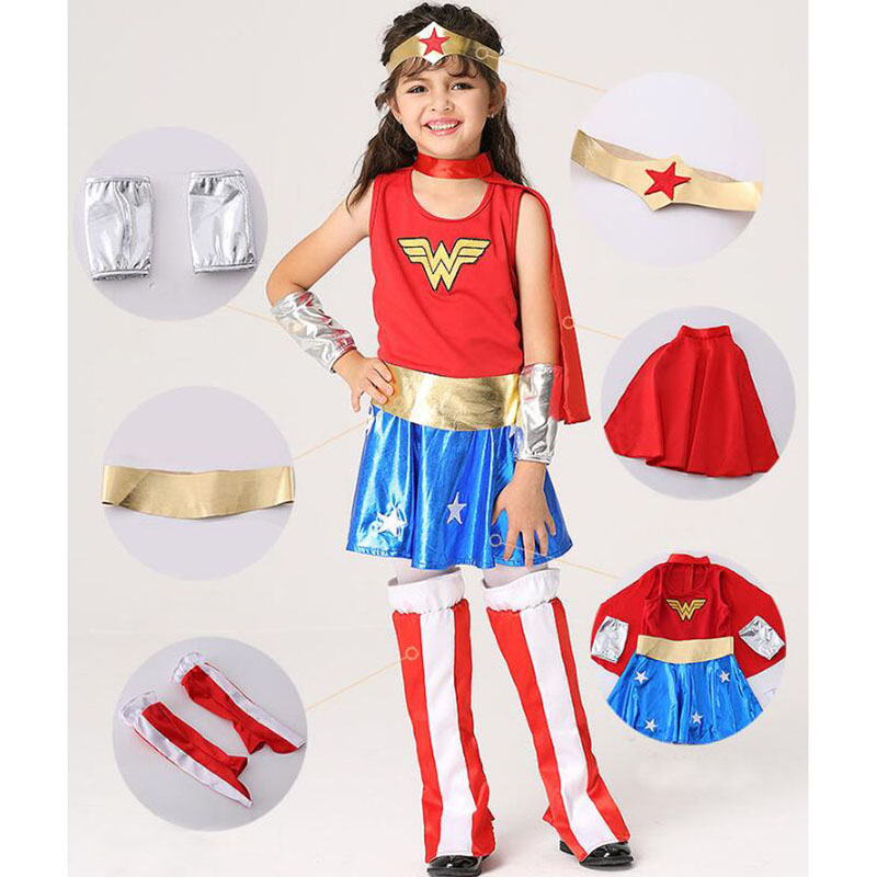 Super Girl 2017 Halloween Cosplay Girls Dress Wonder Woman Kids Costume Fancy Dress Cape