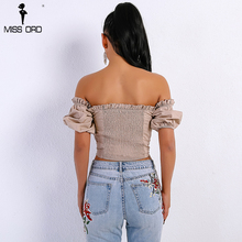 Missord 2018 Summer Sexy Women's New Off Shoulder Bandage Short-Sleeved T-shirt Top FT9052-1