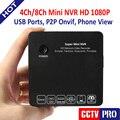4/8 Canal Super Mini 4Ch NVR Gravador de Vídeo Vigilância CCTV Câmera de Rede IP NVR 8Ch 1080 P/960 P/720 P P2P ONVIF Nuvem E-SATA