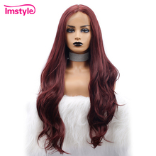 Imstyle Red Lace Front Wigs For Black Women Synthetic Lace Front Wig Long Natural Wavy 99J Wig Heat Resistant Fiber Cosplay Wig brazilian losse curly synthetic wigs glueless synthetic lace front wig for black women heat resistant lace front wig