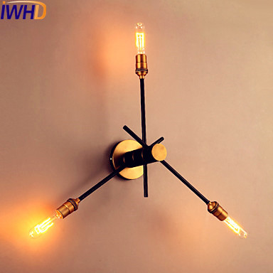IWHD 3 Heads Vintage Retro Wall Lights Dinning Room Edison LED Style Loft Industrial Wall Light Fixtures Wandlamp Applique Pared