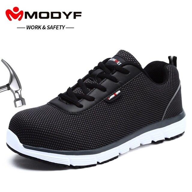 MODYF erkek Güvenlik iş ayakkabısı Çelik Ayak Hafif Nefes Anti-smashing kaymaz Yansıtıcı sneaker