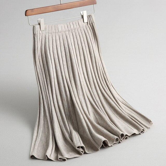 a2de3f12c € 23.75 20% de DESCUENTO Falda de punto de lana caliente gris negro liso de  cintura alta elástica para mujer Otoño Invierno faldas plisadas de ...