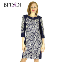 Bfdadi 2016 סתיו חורף תפירת תחרה העמודים slim שמלות נשים אלגנטיות דפוס עבודה מזדמן dress vestidos 7-22271