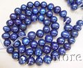 8PY00157 6-7MM Navy Blue Round Pearl Beads 15''