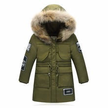 Children's down jacket Girls boys long young children's clothing thickening coat for big child winter warm outwear&coat