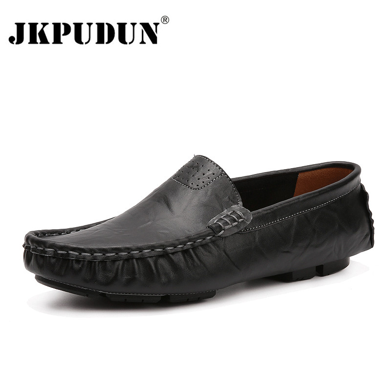 JKPUDUN Big Size Italian Mens Shoes Casual Brands Genuine Leather Men Loafers Moccasins Breathable Slip On Boat Shoes Men Luxury flat bottomed luxury mens loafers mark thread heel cover pedal leather strappy solid italian cowhide slip resistant soft leather