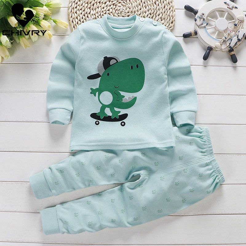 Kids Boys Girls Cotton Pajama Sets Cute Cartoon Print Long Sleeve O-Neck T-Shirt Tops With Pants Autumn Baby Girls Clothing Set
