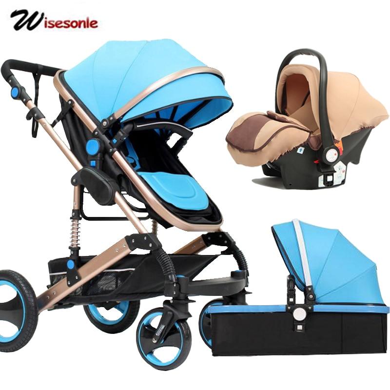 Wisesonle cochecito de bebé 2 en 1 cochecito mintiendo o amortiguador plegable luz peso dos-de niño de cuatro estaciones de Rusia envío Gratis - 2