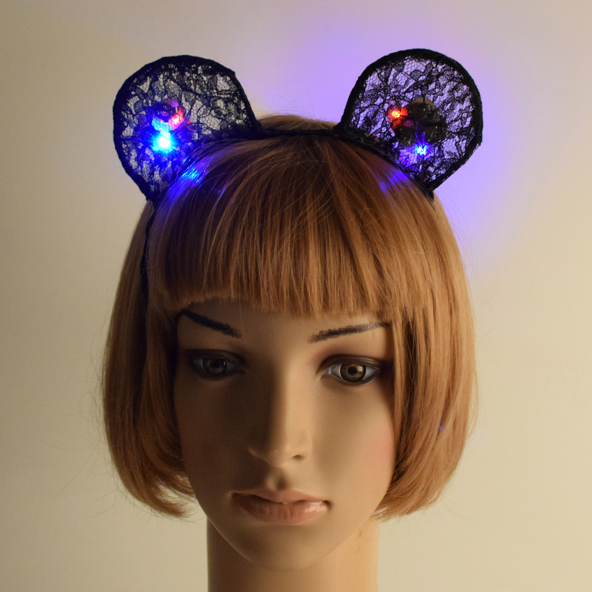 Birthday Party Cat Ears: Lovely Girls Black Lace LED Minnie Cat Ears Hair