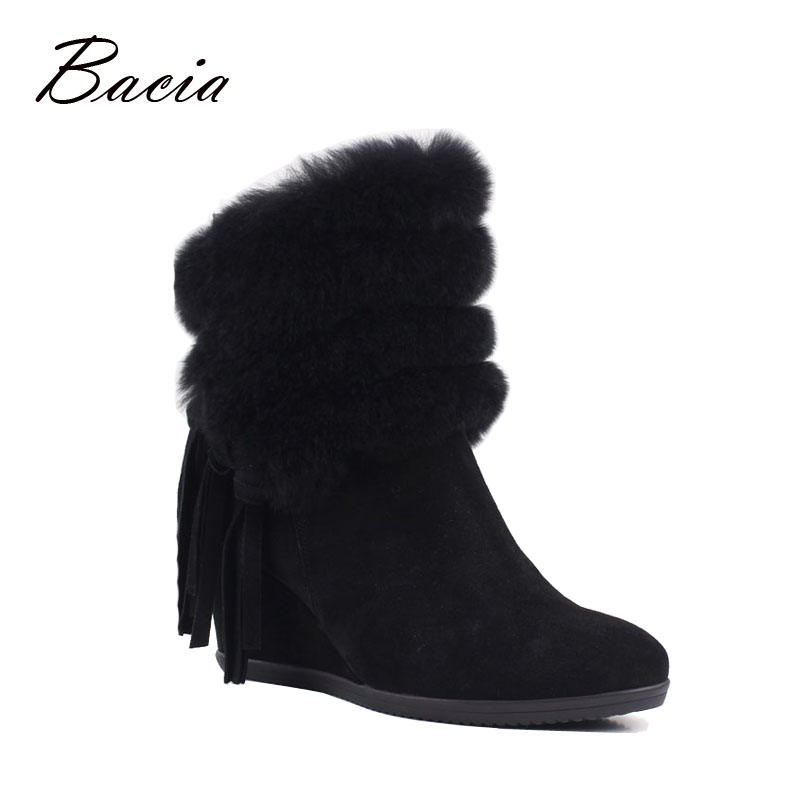 Bacia Fashion Edging Wool Fur Boots Black Tassel Shoes For Winter High Heel Wedges Euro 35-40 Shoes Solid Leather Boots VF005 bacia 2017 women winter boots casual super comfortable genuine leather boots female black warm wool fur shoes size 36 41 mb019