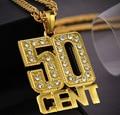 Старинные хип-хоп кристалл 50 Ожерелье мужчины женщины Моды золото/посеребренные ювелирные Рождественские подарки punk party N133