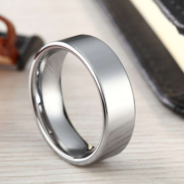 6mm Fashion Silver Men Tungsten Ring Male Jewelry Wedding Band Carbide Engagement Rings