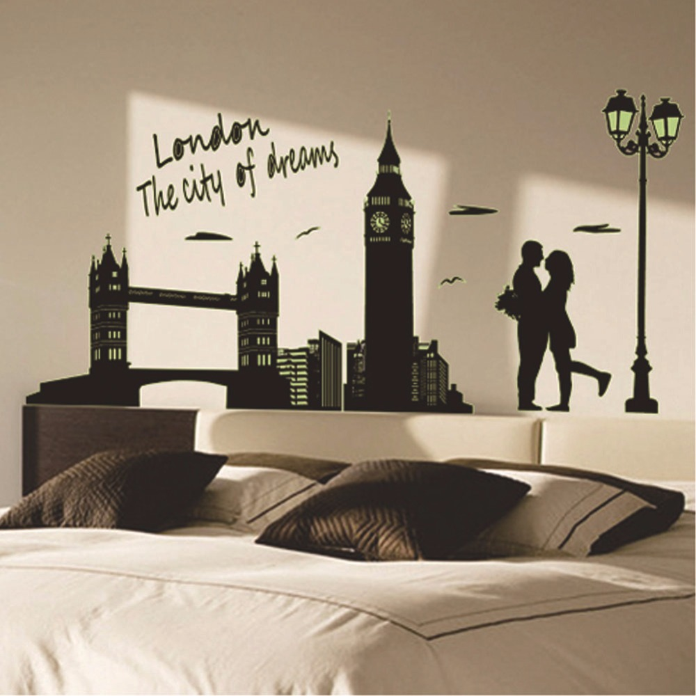 Creative night luminous glowing wall stickers london street light creative night luminous glowing wall stickers london street light couple design home decor vinyl mural decals finished 70x160 cm in wall stickers from home amipublicfo Image collections
