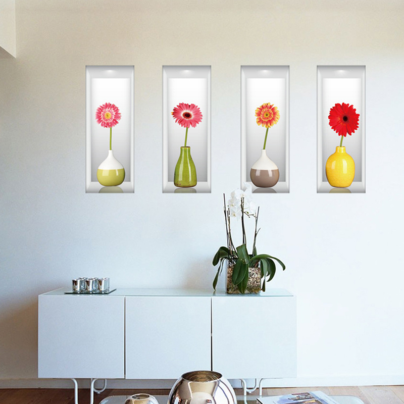Top selling beautiful flowers sticker creative 3d vase Beautiful wall stickers for living room