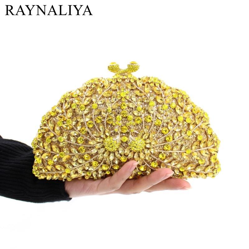 купить Luxury Peacock Crystal Evening Bags Animal Clutch Designer Women Clutches Bridal Wedding Handbags Purses Party Bag SMYZH-E0212 по цене 4093.63 рублей