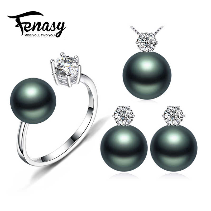 FENASY Pearl Jewelry Brand wedding engagement jewelry sets Natural Pearl pendant Necklace women stud Earrings crown ring 8-9m'm