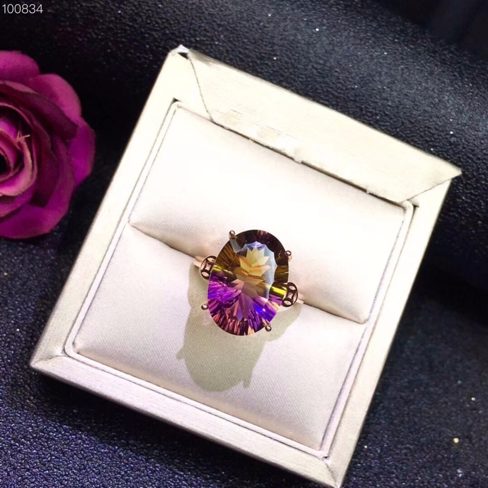Uloveido Adjustable Rose Gold Color Natural Ametrine Lady Ring 925 Sterling Silver Gemstone Wedding Ring for