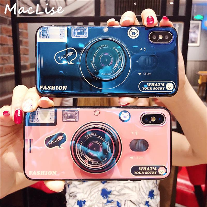 91e04e6488 Phone Case For iPhone 6S 6 7 8 X XS Max Plus 10 Case Silicone Cute Camera  Stand Holder Cover For iPhone 6 S 6Plus Case