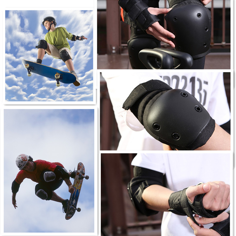 Prix pour 2017 Nouveaux Patins à roulettes Planche À Roulettes Ski Poignet Genou Coude Protecteur Ensemble Adulte et Enfants Genouillères Genouillères Poignet Brace Kit