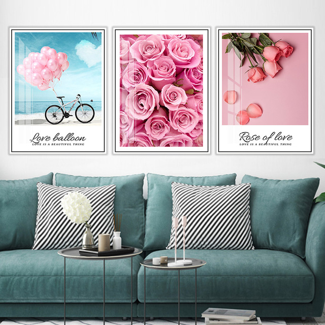 Balloon Rose Flower Love Quotes Wall Art Canvas