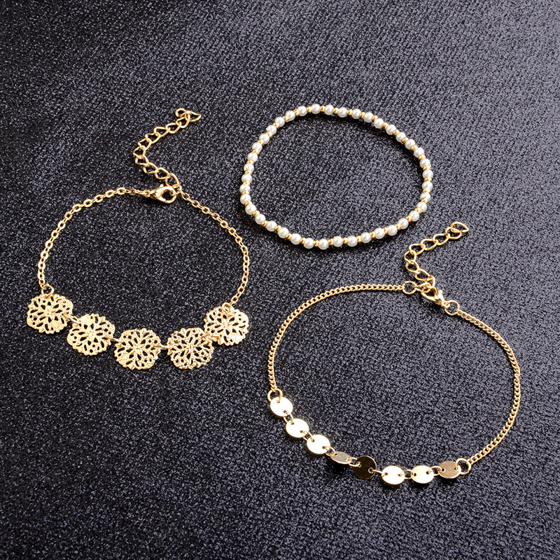 SUKI Bohemian Style Carved Metal Pearl Beaded Piece Pearl 3pcs set Bracelet Multi layer Bangle Simple Hollow Out Bracelet Set in Bangles from Jewelry Accessories