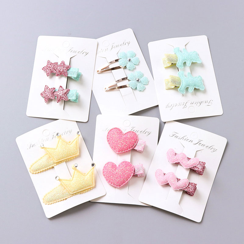 1Pack=2PCS Hot Sale Children New Hair Clips Cute Crown Flowers Safety Barrettes BB Clip Little Girls Gifts Kids Hair Accessories