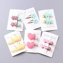 1Pack=2PCS Hot Sale Children New Hair Clips Cute Crown Flowers Safety Barrettes BB Clip Little Girls Gifts Kids Hair Accessories(China)