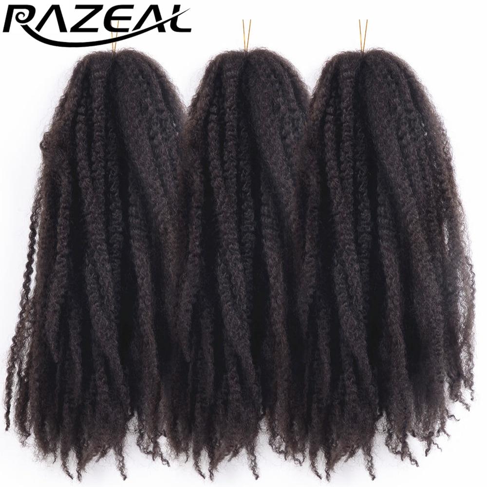 Razeal Afro Kinky Marley # 2 Средне-каштановые синтетические плетеные волосы 100 г Вязаные косы Наращивание волос 6 пакетов Высокая температура