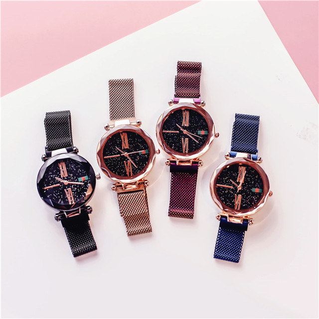 Fashion Rose Gold Women Watch Luxury Minimalism Lady Gift Clock Magnet Buckle 4 Color Female's Quartz Wristwatch