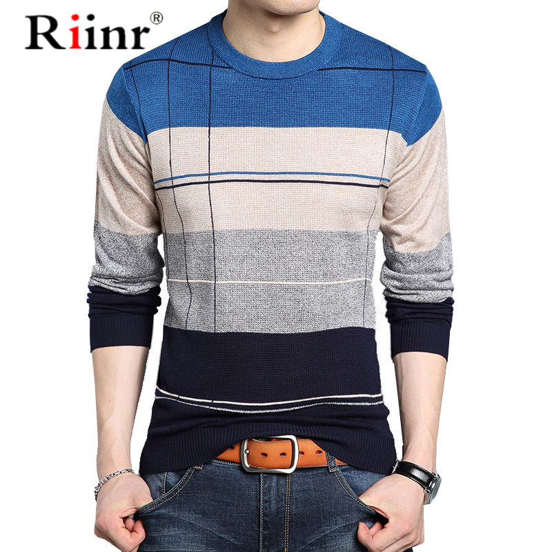 Riinr New Pullover Men Brand Clothing 2019 Autumn Winter Wool Slim Fit Sweater Men Casual Striped Pull Jumper Men