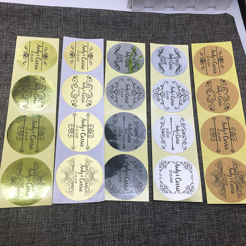 4 cm custom 100 pcs Personalized Matt Silver PVC Sticker design Clear Logo Shower Wedding Baby matte film Gift for party paper
