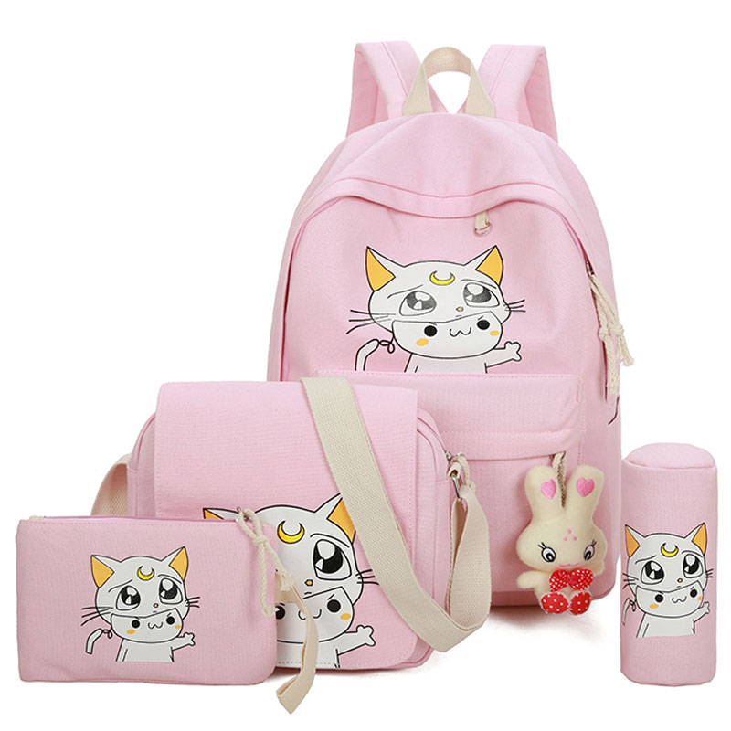 Canvas Backpack Girl Korean Fashion Preppy Style Kawaii Fresh School Bag High School Junior School Backpack Primary Student